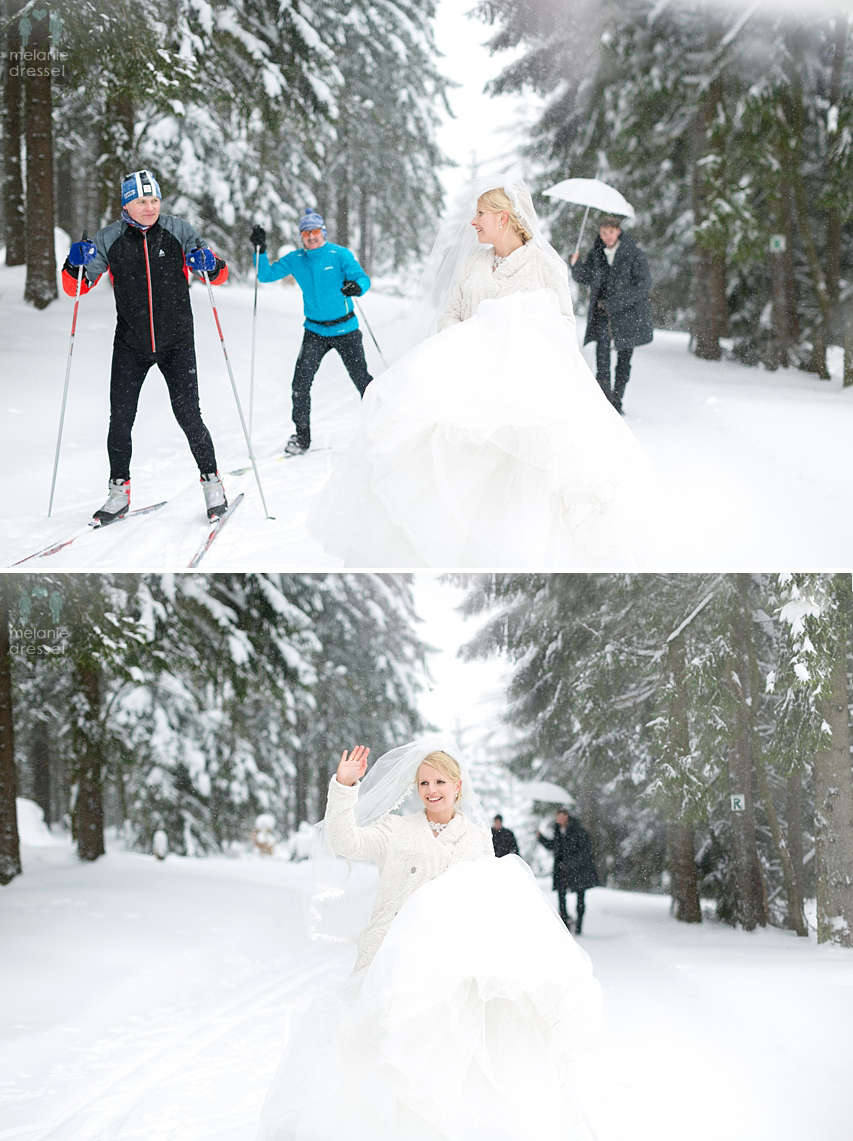 Skilangläufer und Brautpaar.
