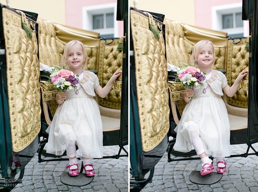 Blumenmädchen Hochzeitskutsche