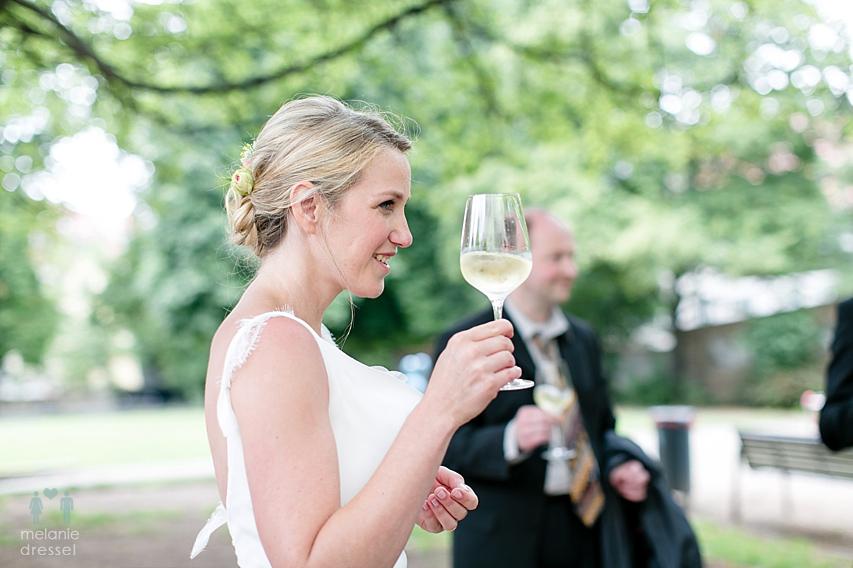 Sektempfang Braut