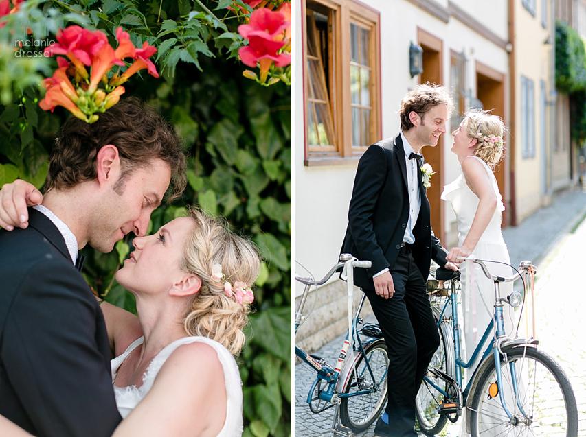 küssendes Erfurter Brautpaar