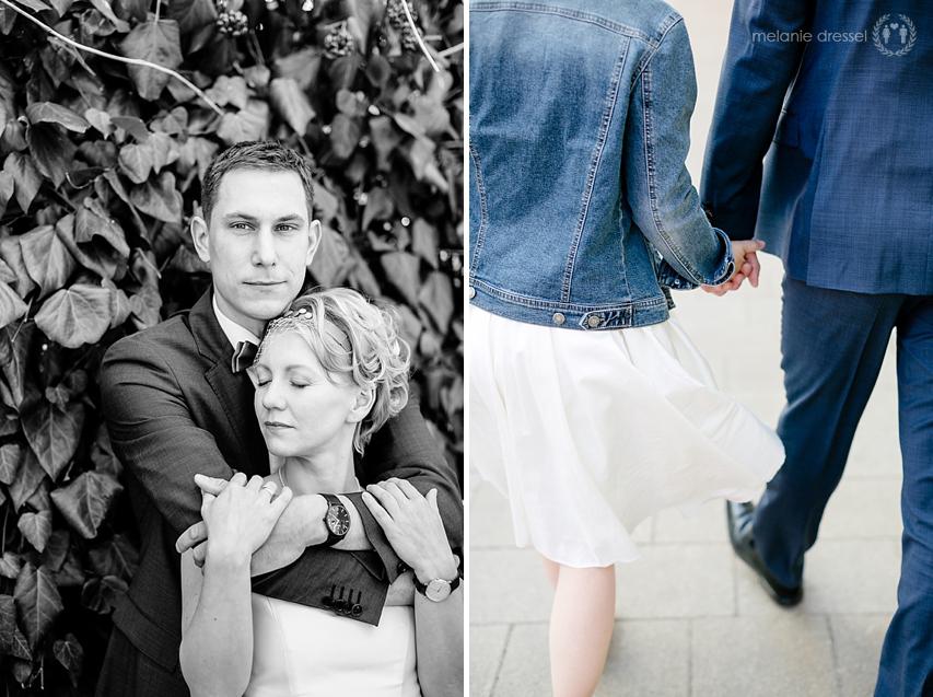 Braut und Bräutigam in der Erfurter Altstadt, fotografiert von Melanie Dressel
