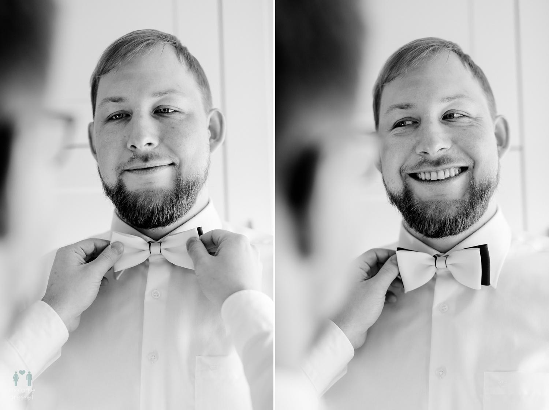 Der Bräutigam kleidet sich an