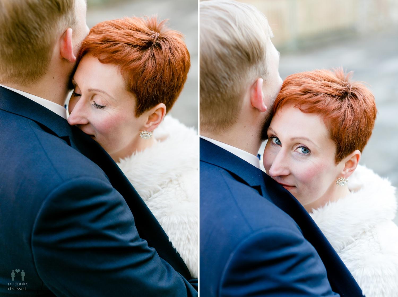 Hochzeitsfotografin Melanie Dressel fotografiert die Winterhochzeit von Evelyn und Karl in Gera.