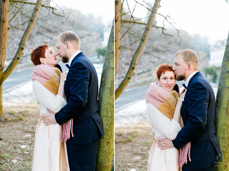 Evelyn und Karl während Ihrer Winterhochzeit in Gera.