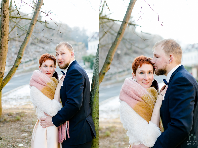 Hochzeitsfotograf Melanie Dressel fotografiert die Winterhochzeit von Evelyn und Karl in Gera.