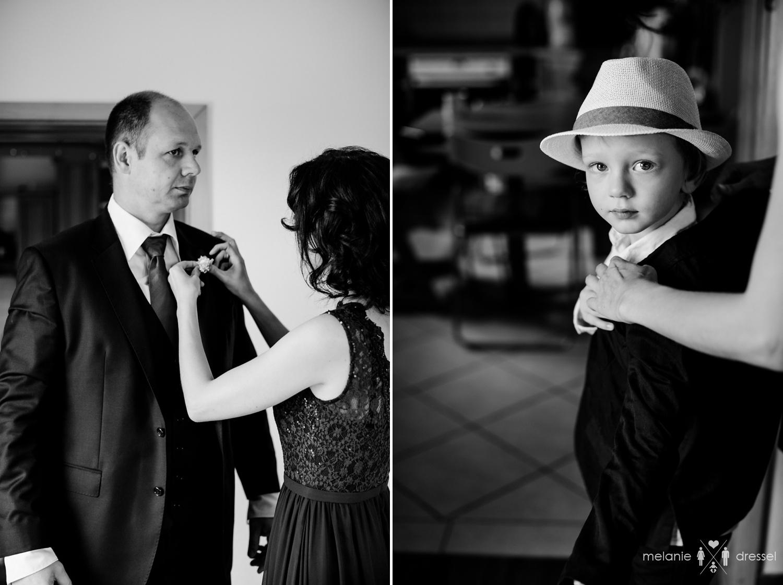 Hochzeitsgäste ziehen sich an