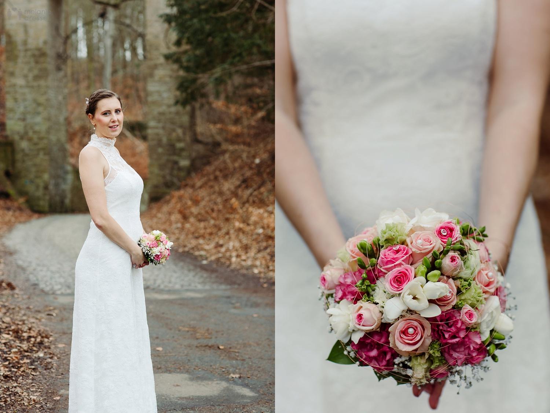 Braut im Geraer Stadtwald bei Schloss Osterstein - Hochzeitsfotografie in Gera